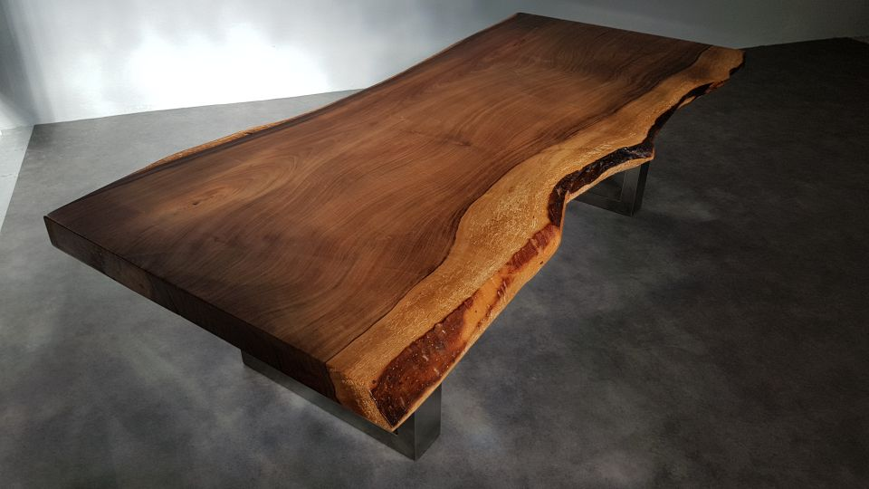 table basse noyer brut